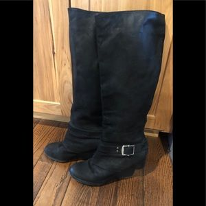 Vince Camuto Alicia Black Wedge Moto boots 9 1/2